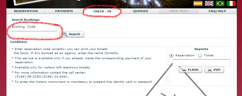 Machu Picchu admission tickets