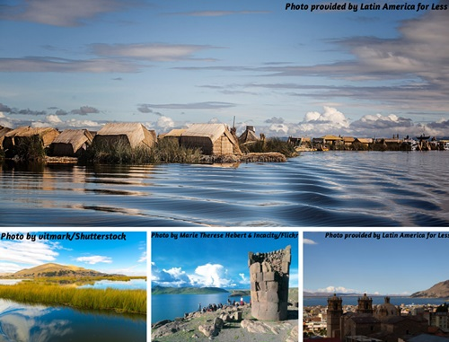 Photo collage of Puno and Lake Titicaca scenery and ruins, Peru