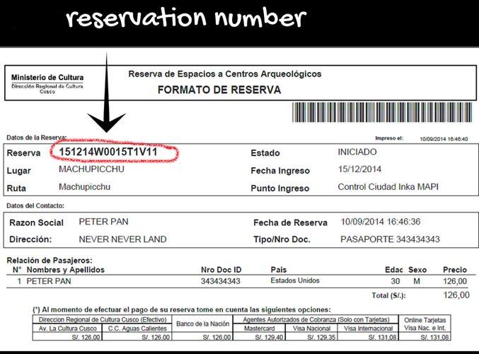 reservation number