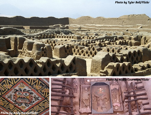 Photo collage of Chan Chan and Lord of Sipan ruins inf Trujillo and Chiclayo, Peru