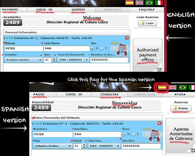 Website for Machu Picchu Tickets 6
