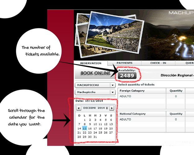 Website for Machu Picchu tickets 2