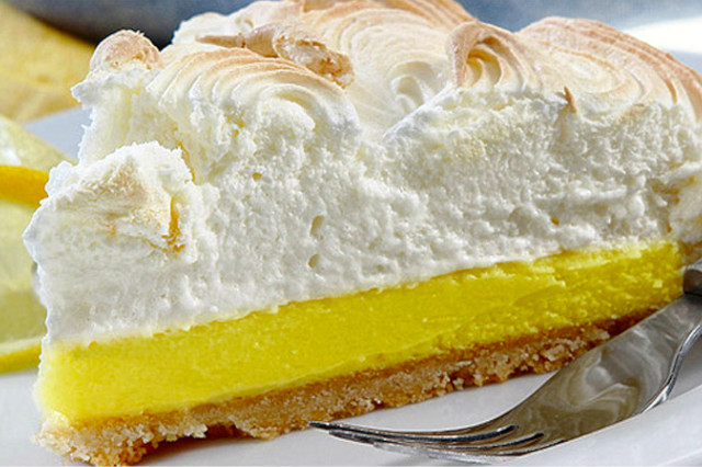 A slice of pie de limon, famous worldwide but also a popular Peruvian dessert.