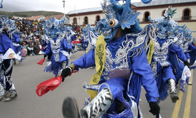 Danza del Diablo at the parade during Candelaria in Puno, Peru