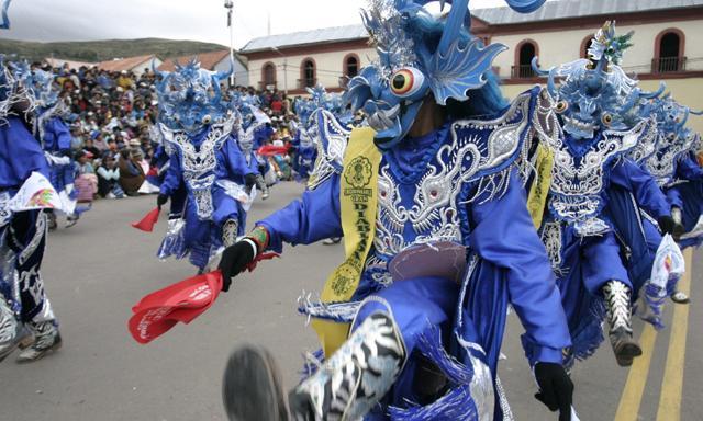 Danza del Diablo at the parade during Candelaria in Puno, Peru