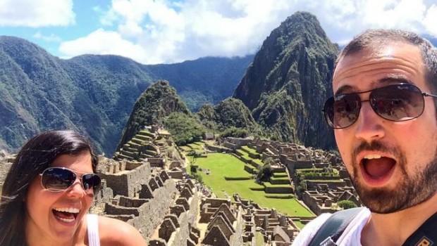 Two travelers at Machu Picchu