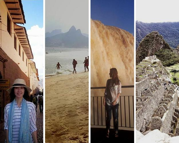 Four strips from different images in destinations: Cusco, Rio de Janeiro, Iguazu, Machu Picchu