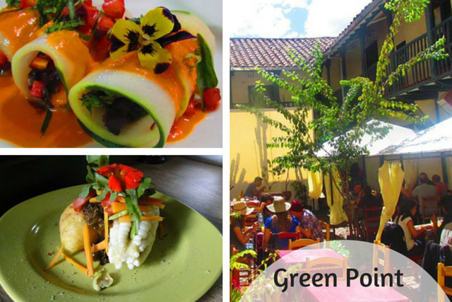 Collage of the vegan dishes at Green Point Restaurant in Cusco