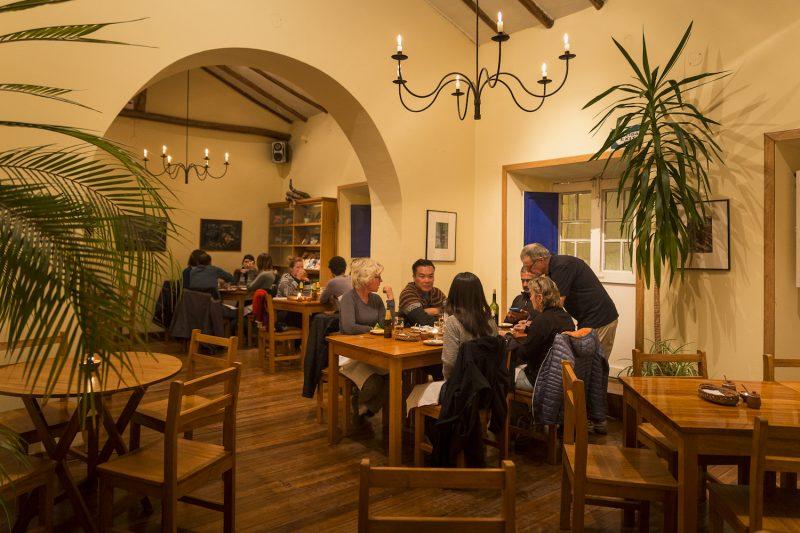 The dining room at Granja Heidi restaurant in Cusco.
