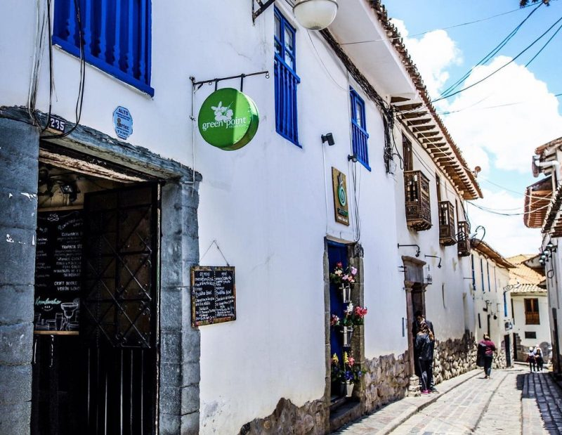 The exterior of Green Point restaurant in Cusco.