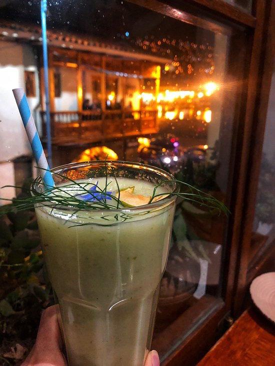 A fresh juice at Greens Organic in Cusco.