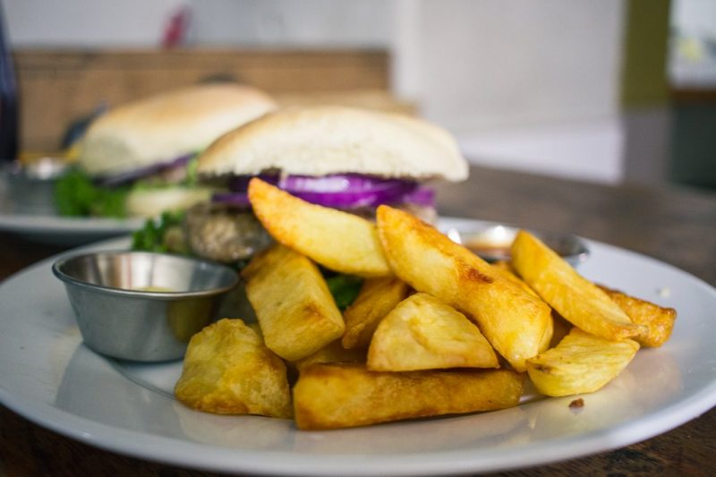 A sandwich and some fries at Hearts Cafe in Ollantaytambo.