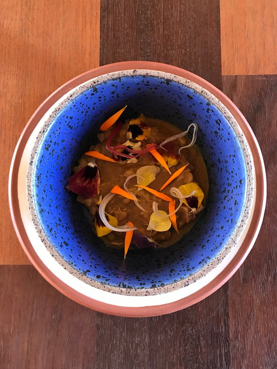 A creative dish with beautiful presentation at Mil in Peru's Sacred Valley.