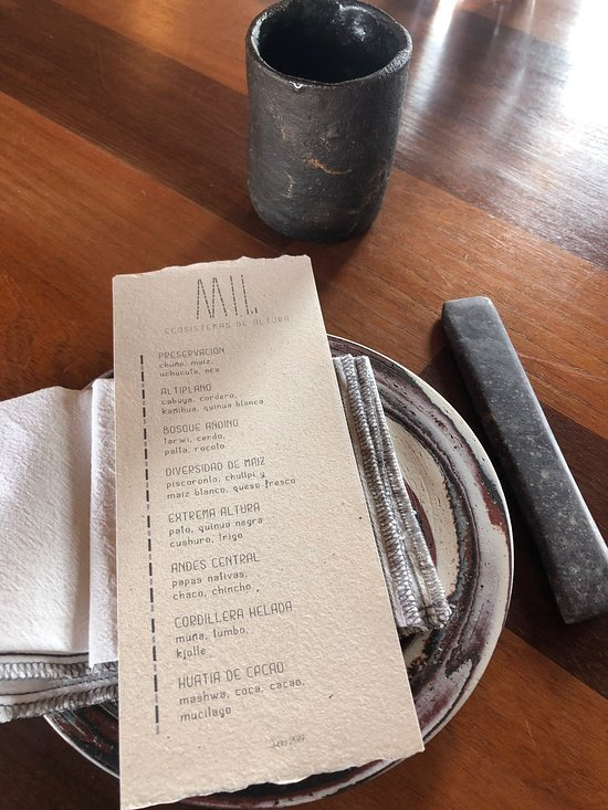 The menu at Mil.