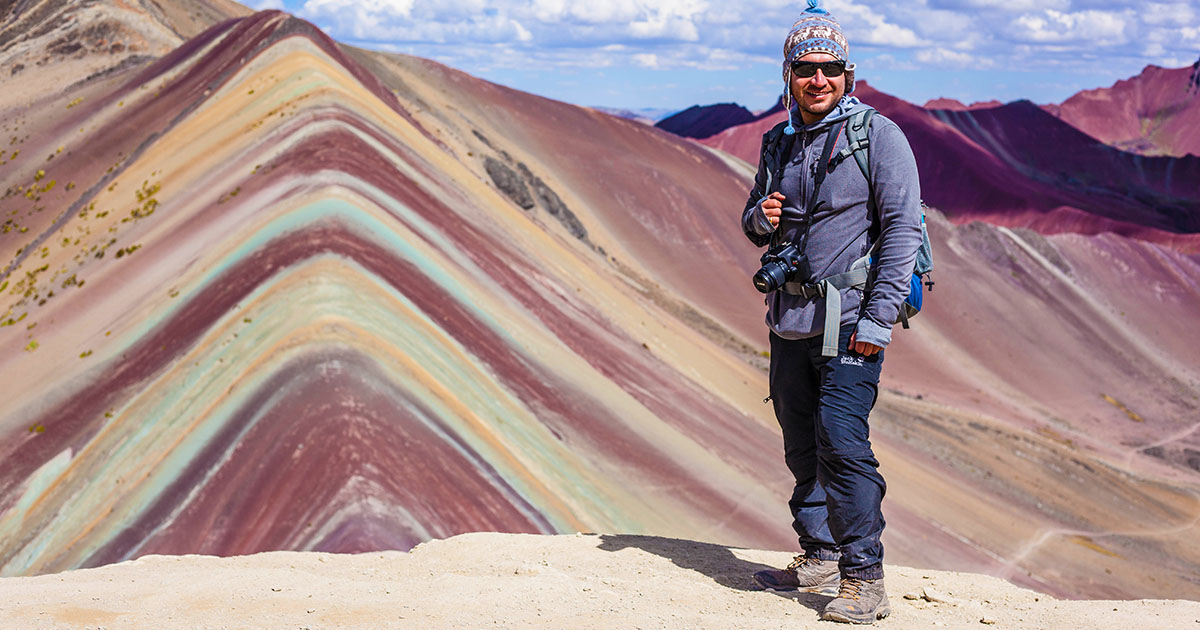 View from the top of Vinicunca Rainbow Mountain in Peru