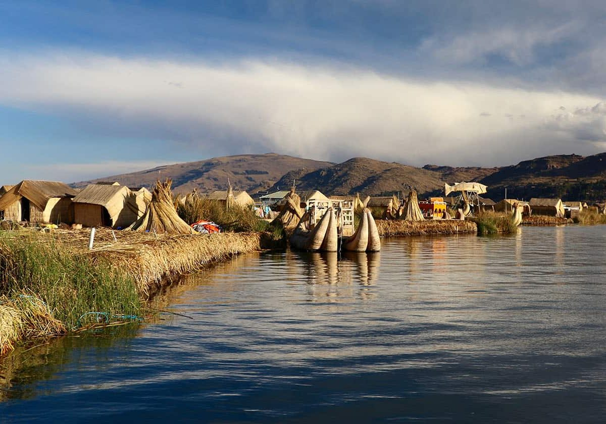 View of the Uros Floating Islands of Lake Titicaca