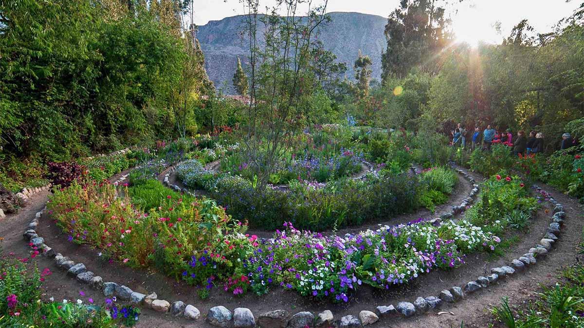Spiral walk at the seven chakra healing gardens of Willka Tika Luxury Wellness Retreat Center