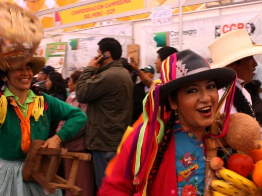 Woman holds Peruvian fruits at the Mistura Food Festival, South America's largest gastronomic event