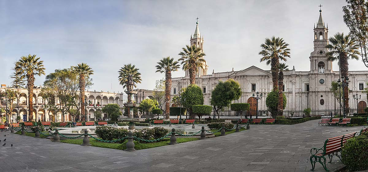 Buildings made from white volcanic stone make up Arequipa's main plaza, the Plaza de Armas.