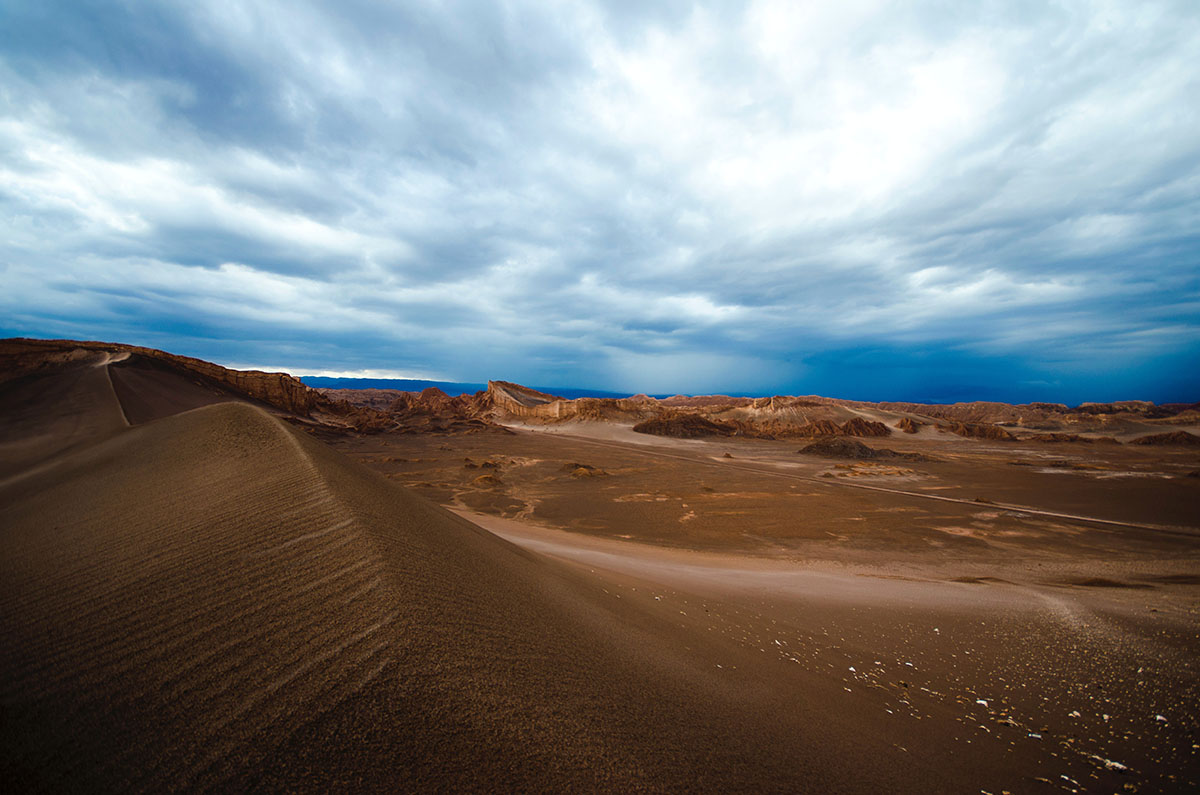 The largest desert in South America, Atacama is full of sand and barren landscapes.