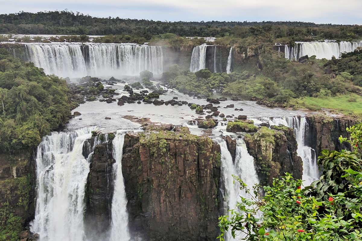 Cascades along the Iguazu Falls, a top destination in South America.