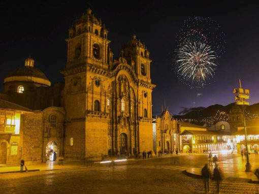 Cusco Plaza de Armas with a Firework in the night sky