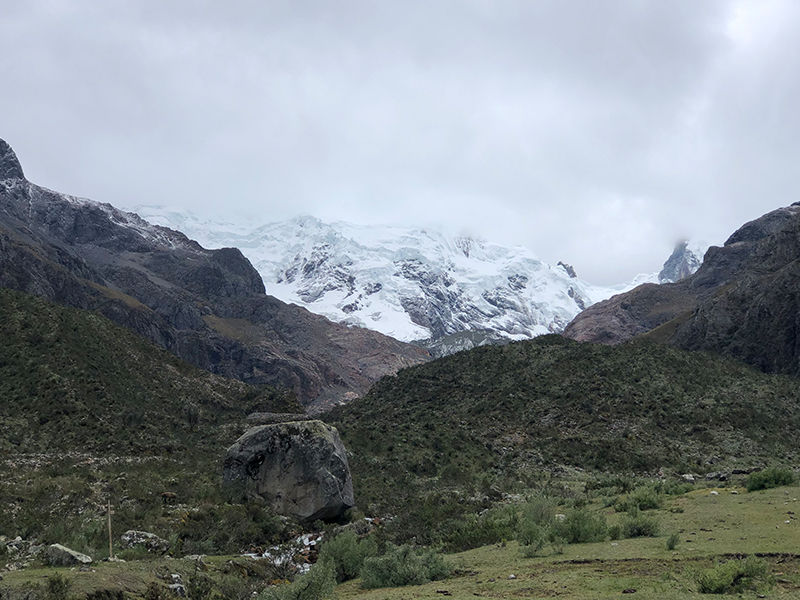 A snow-capped Andean Mountain as seen from the Shallap Valley.
