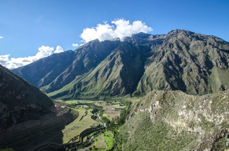 View over Llactapata ruins in the green Sacred Valley