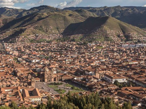 looking down over Cusco plaza and tiled rooftops