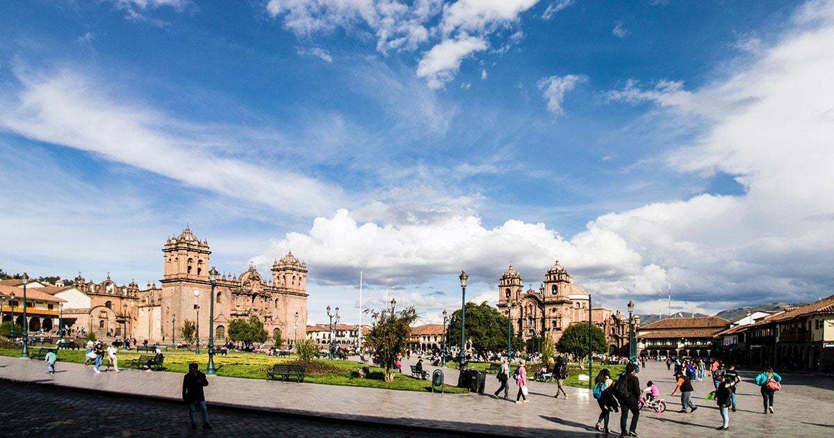 Partly cloudy skies over the Plaza de Armas of Cusco, the city's main square and gathering place.