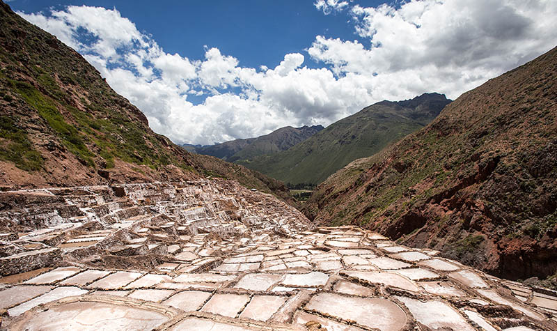 The salt pans of Maras in Peru's Sacred Valley, built more than 500 years ago.