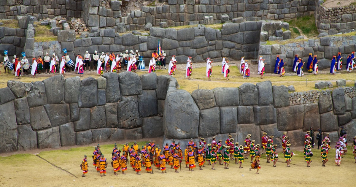 Performers at Sacsayhuamán for Inti Raymi, a re-enactment of the Inca festival of the sun.