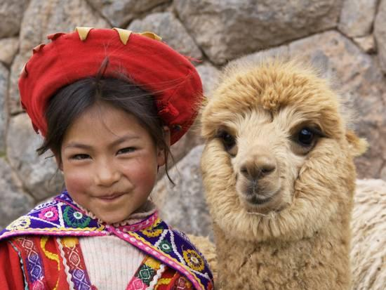 Young girl from the Andes in traditional attire smiling beside an alpaca.
