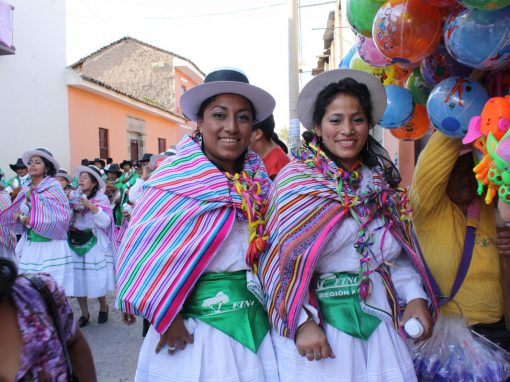 Festive Easter celebration in Ayacucho. Two woman in traditional Andean easter attire.