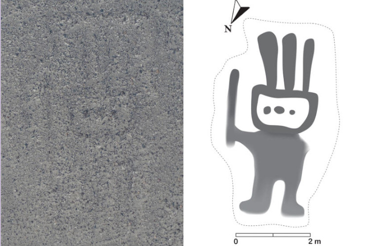 Humanoid Nazca Lina, aerial photo to the left, drawing of the geoglyph to the right