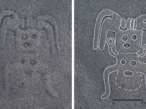 A new Nazca Line of a human figure wearing a headdress. A processed image identifies the lines in more detail.