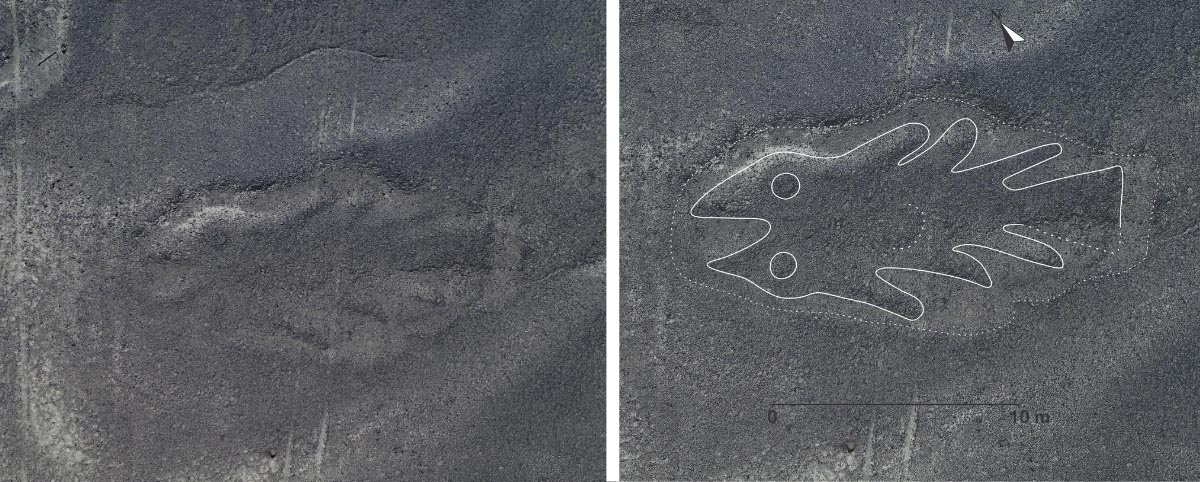 A newly discovered fish shape etched into the Nazca Desert in Peru.