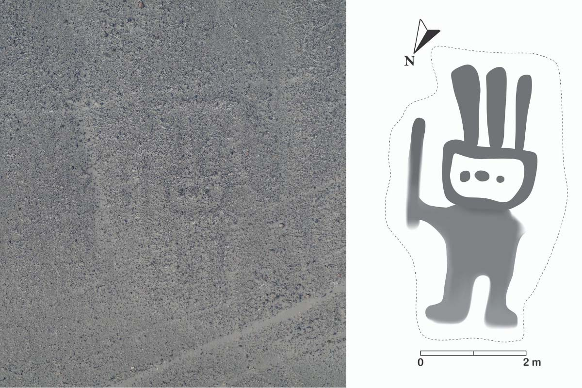 The first Nazca Line found with AI, a faded human figure, and a processed image of the glyph.