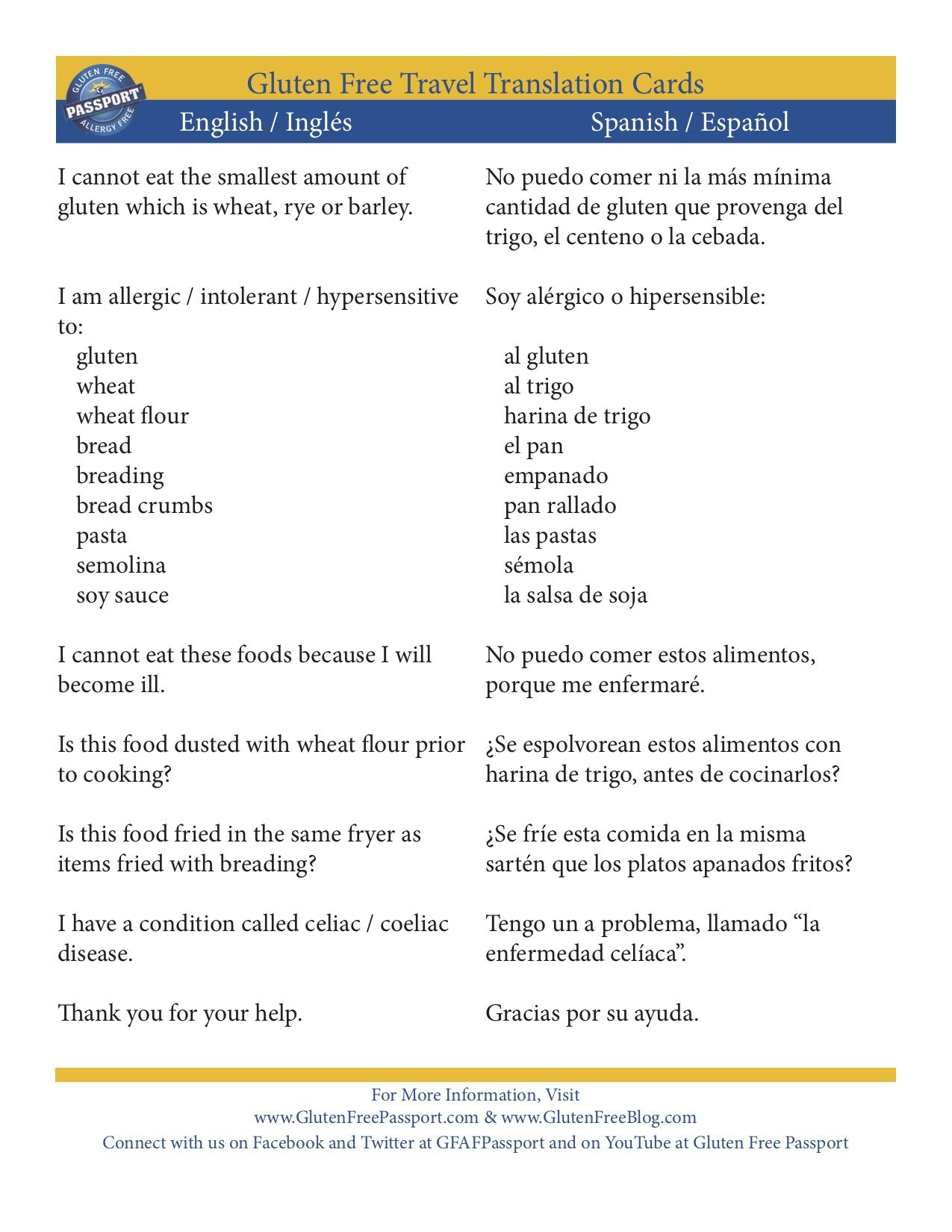English / Spanish translation card for gluten free ordering in restaurants.