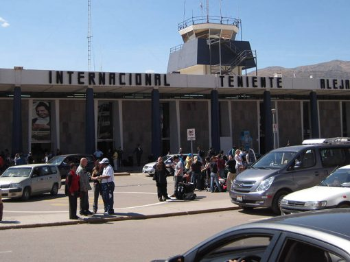 View from outside the Alejandro Velasco Astete International Airport in Cusco, Peru.
