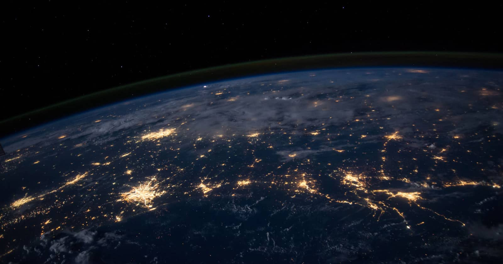 A photo of the earth at night from space by Nasa