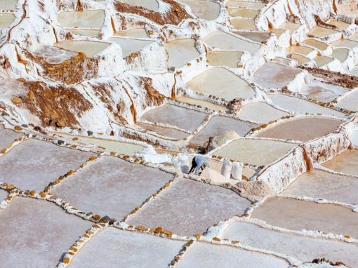 Bright whitish pink aerial view of the salt pans