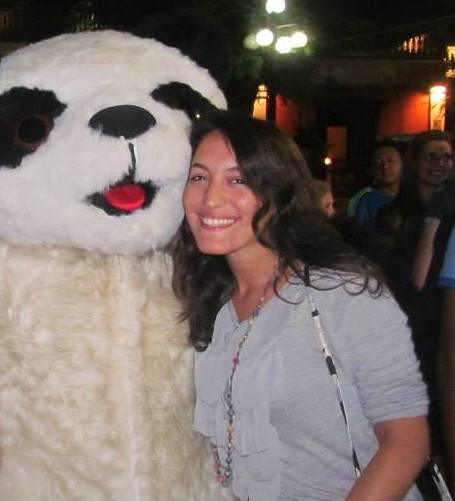 Woman with person in panda costume