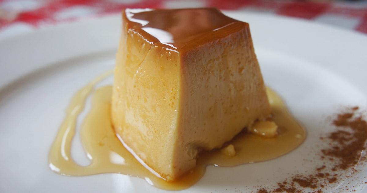 A slice of crema volteada, a classic Peruvian dessert