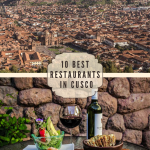 birds eye view of cusco city and mountains on top of a salad, grilled meats and wine on a table