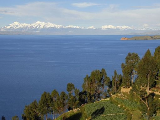 View of Lake Titicaca from Isla del Sol with mountains in background.