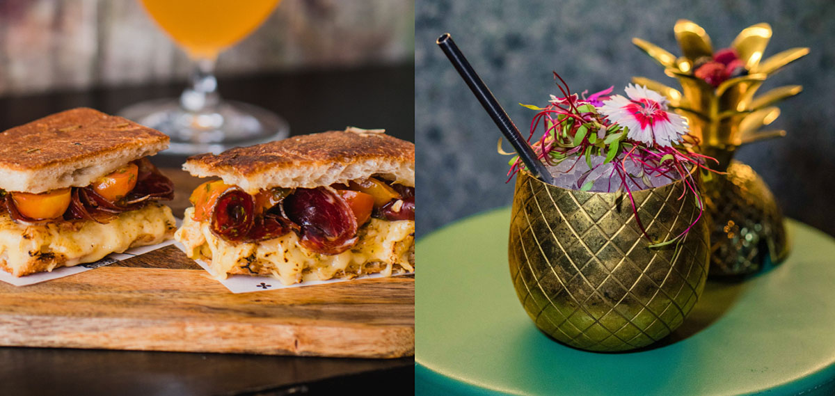 2 images side by side of a gourmet prosciutto sandwich and an ornate cocktail in a golden cup.