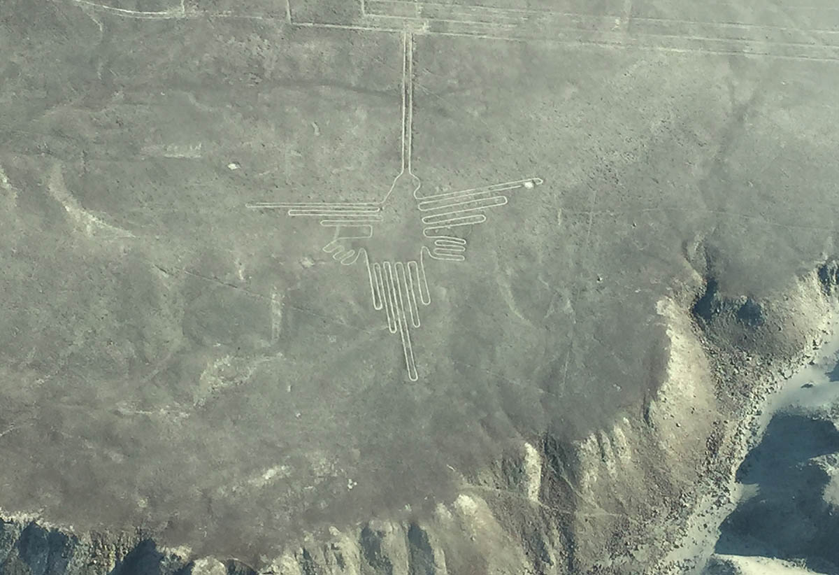 A large scale hummingbird shaped Nazca Line drawing in the sand as seen from above.