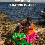 Two andean girls braiding their hair on a floating island in Lake Titicaca