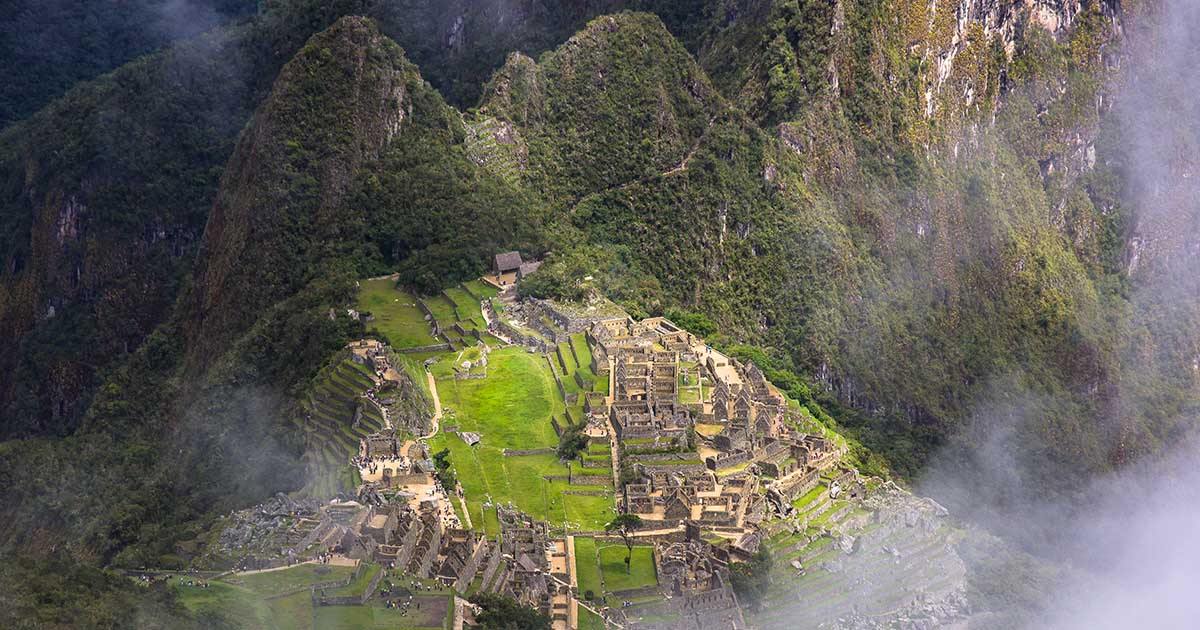 Aerial view of Machu Picchu from Machu Picchu Mountain hike.
